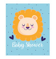 baby shower cute lion animal hearts cartoon vector image vector image