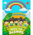 Back to school theme with school bus and kids vector image vector image