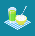 basmati rice porridge and fruit juice breakfast vector image