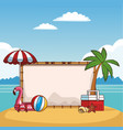 beautiful beach with sign vector image