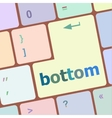 bottom word on computer pc keyboard key vector image vector image