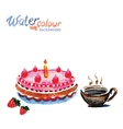 cake and tea cup white background with space for vector image vector image