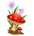 cartoon mushroom isolated white background vector image