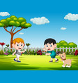 children playing badminton and the dog vector image vector image