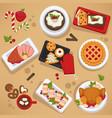 christmas food on celebrating table feast on vector image