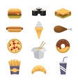 Colored fast food icons vector image vector image