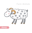 cute cartoon sheep with thick fur isolated vector image vector image
