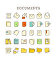different paper documents thin line color icons vector image