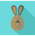 Easter rabbit egg shaped with moustache vector image