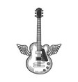 electric guitar with wings sketch engraving vector image vector image