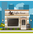 facade of a coffee shop in city vector image