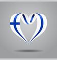 finnish flag heart-shaped ribbon vector image vector image