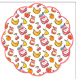 Fruit decorated napkin vector image