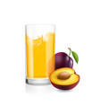 glass of juice and plums realistic isolated vector image vector image
