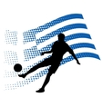 greece soccer player against national flag vector image