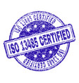 grunge textured iso 13485 certified stamp seal vector image vector image