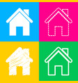home silhouette four styles of icon vector image vector image