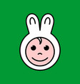 kid face in a fun cute bunny ears hat happy child vector image