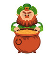 leprechaun cartoon character or angry green dwarf vector image vector image