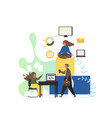 office workspace flat style design vector image