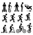 park ride vehicles stick figure pictograph icons vector image