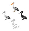 pelican icon in cartoonblack style isolated on vector image