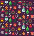 seamless christmas symbols xmas green tree gift vector image