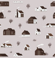 seamless pattern with wooden living houses or vector image vector image