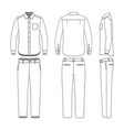 set of male shirt and pants vector image vector image