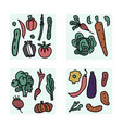 set of vegetables doodle composition vector image vector image