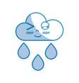 silhouette kawaii nice funny cloud raining vector image vector image