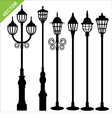 street lamps silhouettes vector image vector image