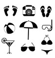 summer travel beach icon set isolated on white vector image