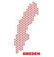 sweden map - mosaic of love hearts vector image vector image