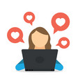 woman blogger using social network by notebook and vector image vector image