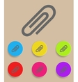 paper clip icons with color variations vector image