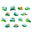 Summer and autumn agricultural landscape icons vector image