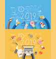 2019 new year business success creative drawing vector image
