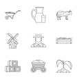 Animal farm icons set outline style vector image vector image