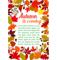 autumn fallen leaf poster with fall nature frame vector image vector image