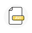 avi file format extension color line icon vector image