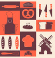 bakery icons in colorful collage vector image