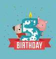 birthday card with candle number five vector image vector image