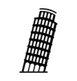 black icon leaning tower of pisa vector image vector image