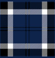 blue black and white tartan plaid seamless pattern vector image vector image