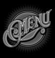 Calligraphic stylish inscription menu on black