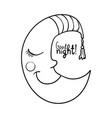 cartoon sleeping moon in striped nightcap vector image vector image