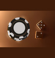 casino background dice and chips top view of vector image vector image