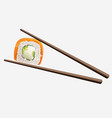 chopsticks holding sushi roll isolated on white vector image vector image
