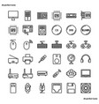 computer outline icons perfect pixel vector image